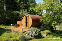 Sauna typu beczka w ogrodzie - VINGBERG