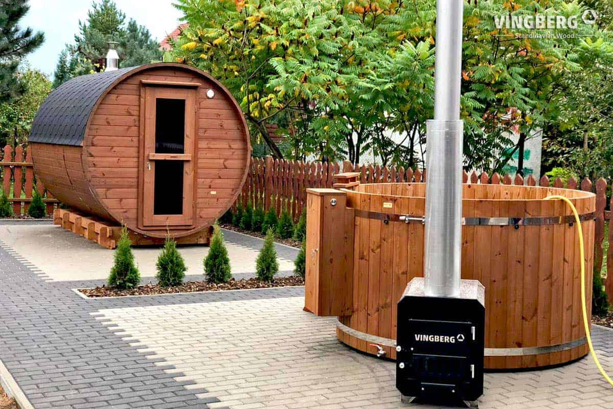 Sauna ogrodowa beczka w zestawie z balią