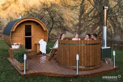 Akka Comfort - zestaw z sauną i balią z drewna ThermoWood®