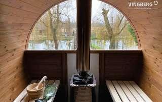 Interior of barrel sauna VINGBERG
