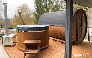 Garden sauna with hot tub in set with terrrace
