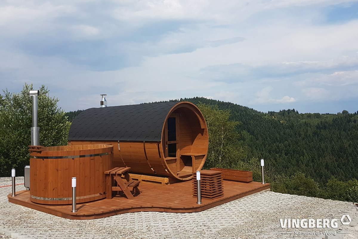 Sauna ogrodowa z balią w górach