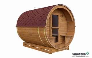 Sauna z fińskiego drewna termowanego z czerwonym dachem