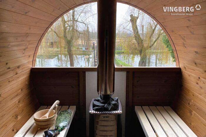 Wnętrze sauny beczki VINGBERG