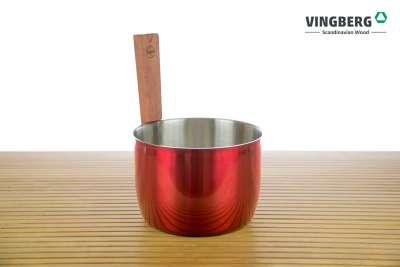 Ceber stalowy do sauny premium - kolor czerwony