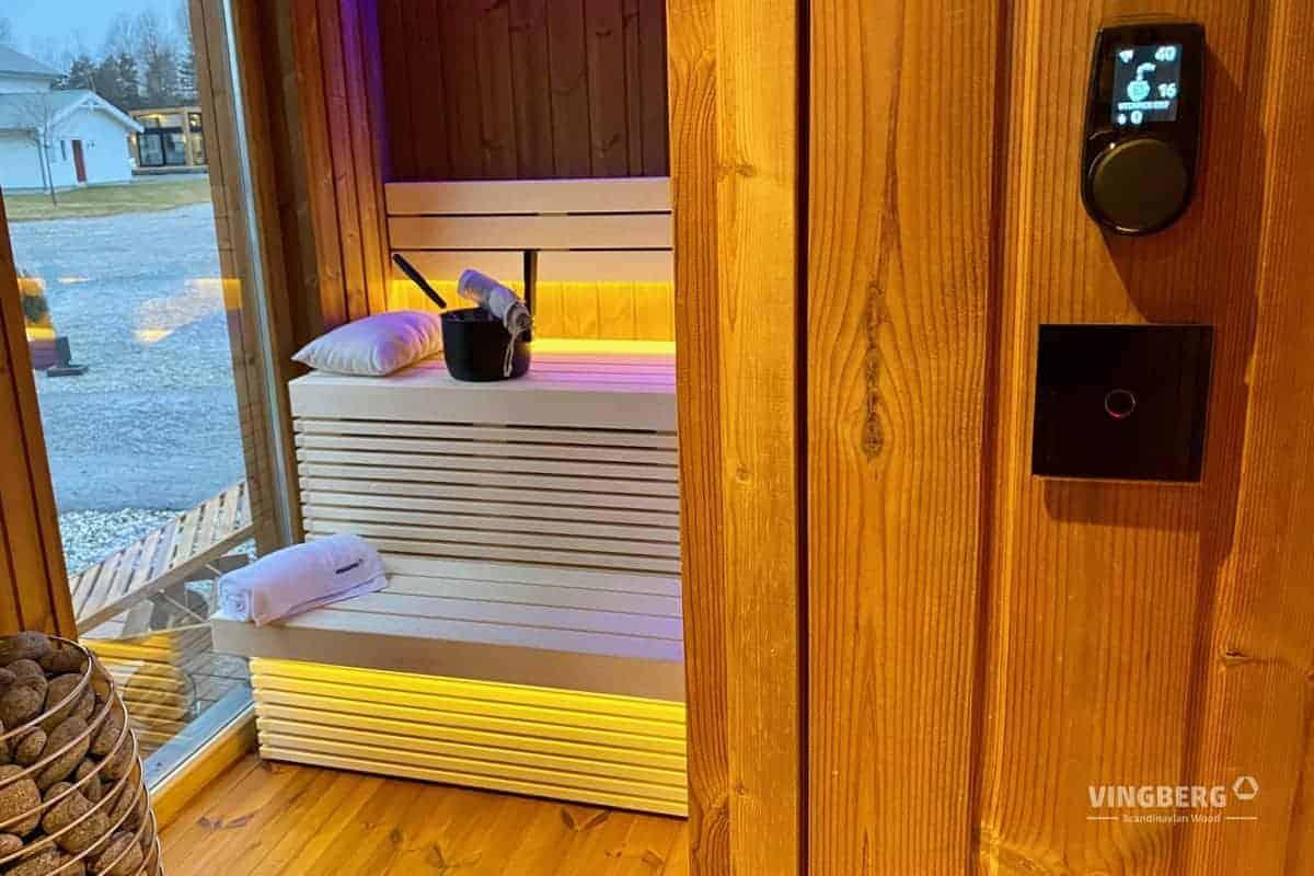 Interior of the modern Sauna Scandit 10