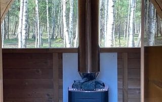 Garden sauna Akka heater and panoramic window