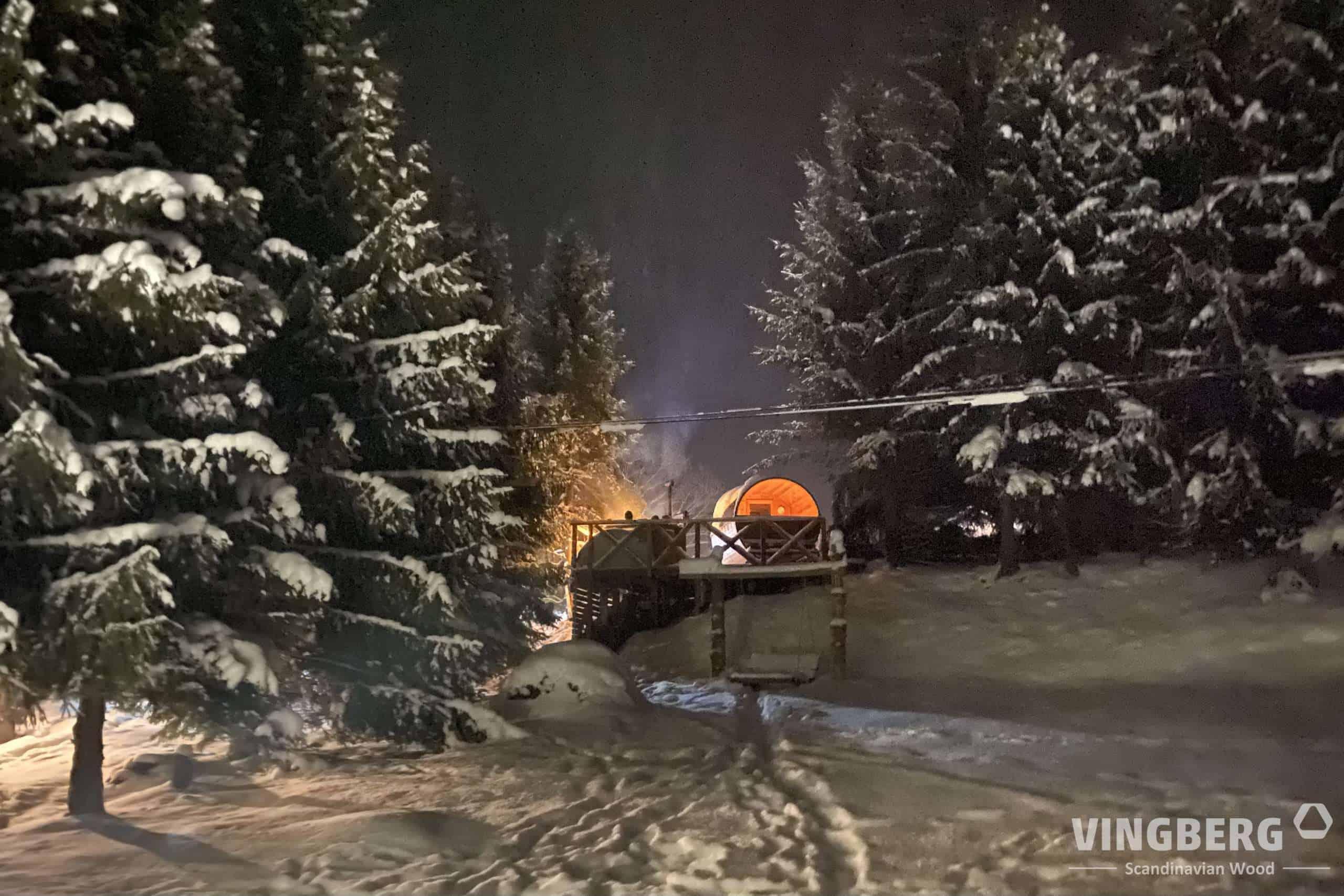 Sauna i balia zimą, zestaw Akka Comfort