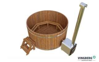 Balia zewnętrzna z ThermoWood z piecem na drewno i schodkami