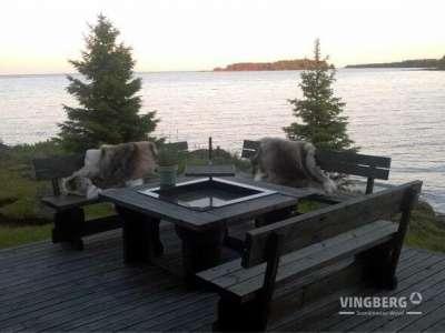 Szwedzkie ogrodowe palenisko grillowe z ławkami