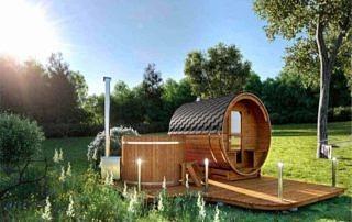 Sauna zewnętrzna w zestawie ogrodowym