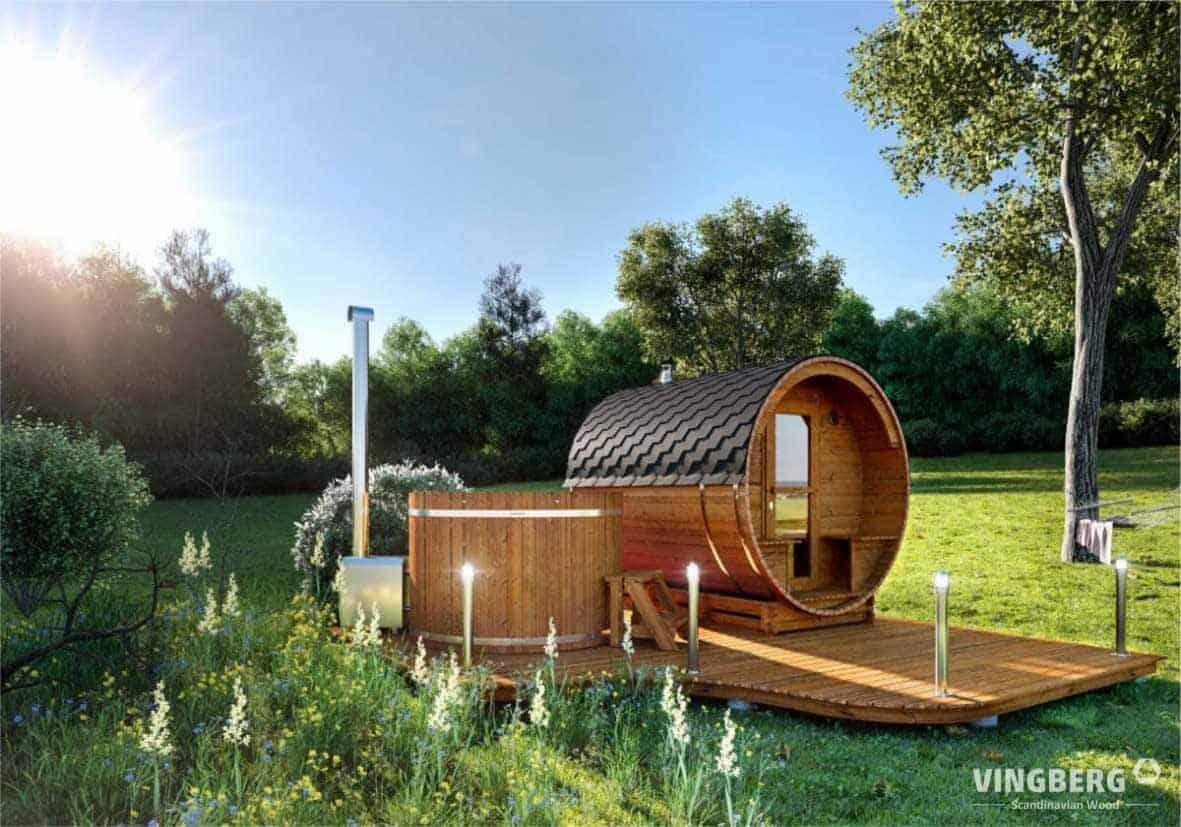 Sauna ogrodowa i balia do kąpieli w ogrodzie