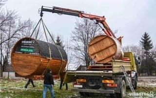 Transport sauny i balii ogrodowej firmy VINGBRG