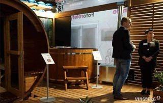 Stoisko Vingberg na Międzynarodowych Targach Rzeszowskich 6-8.04.2018 r., sauna Akka #280, balia Norra #185 z piecem zewnętrznym opalanym drewnem.