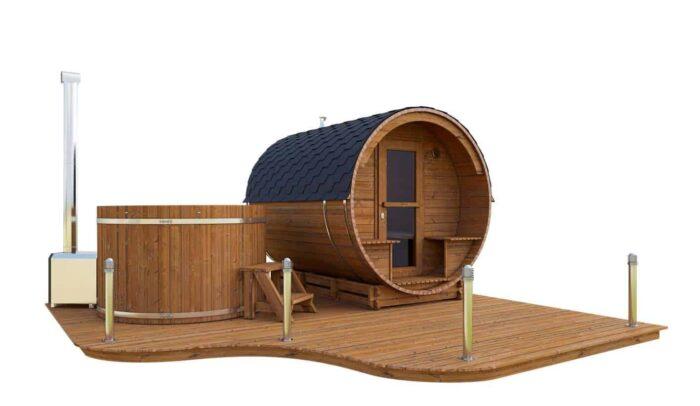 Akka Comfort set with ThermoWood sauna and hot tub