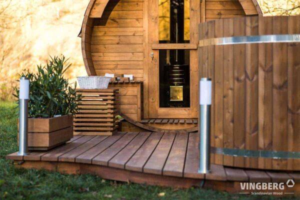 Ogrodowy zestaw sauna i balia z sosny skandynwskiej