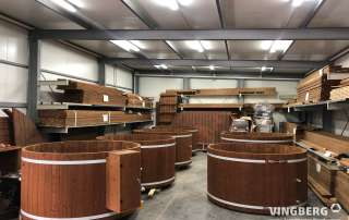 Hot tubs in the production plant- VINGBERG