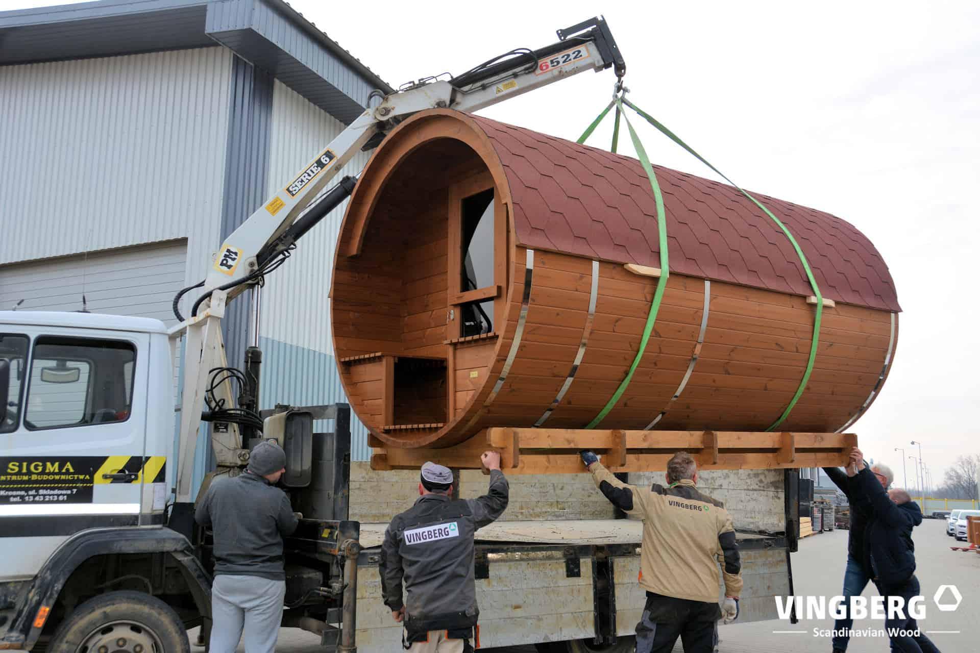 Transport sauny beczki