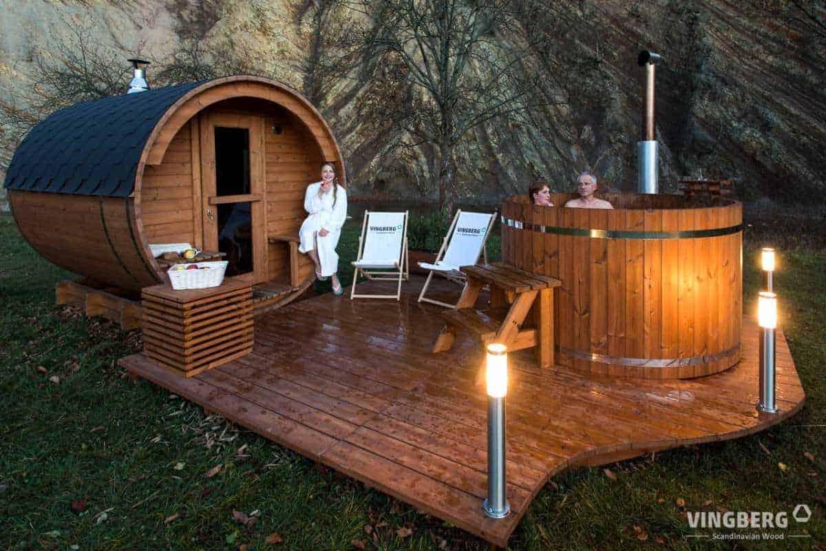 Sauna beczka i balia z gorąca woda VINGBERG