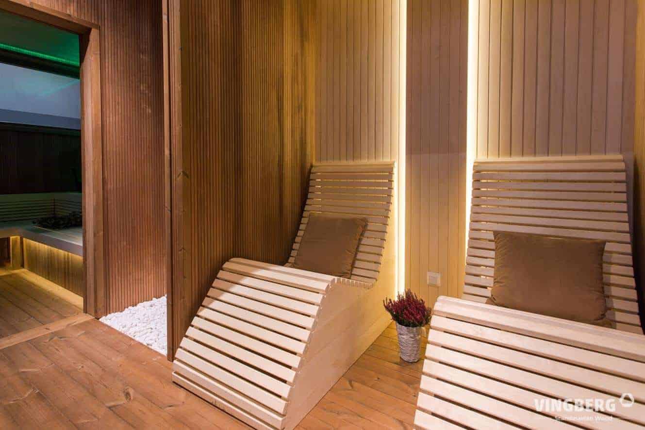 Interior of the modern sauna room SCANDIT