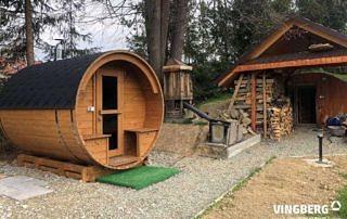 Sauna zewnętrzna do ogrodu z drewna termowanego