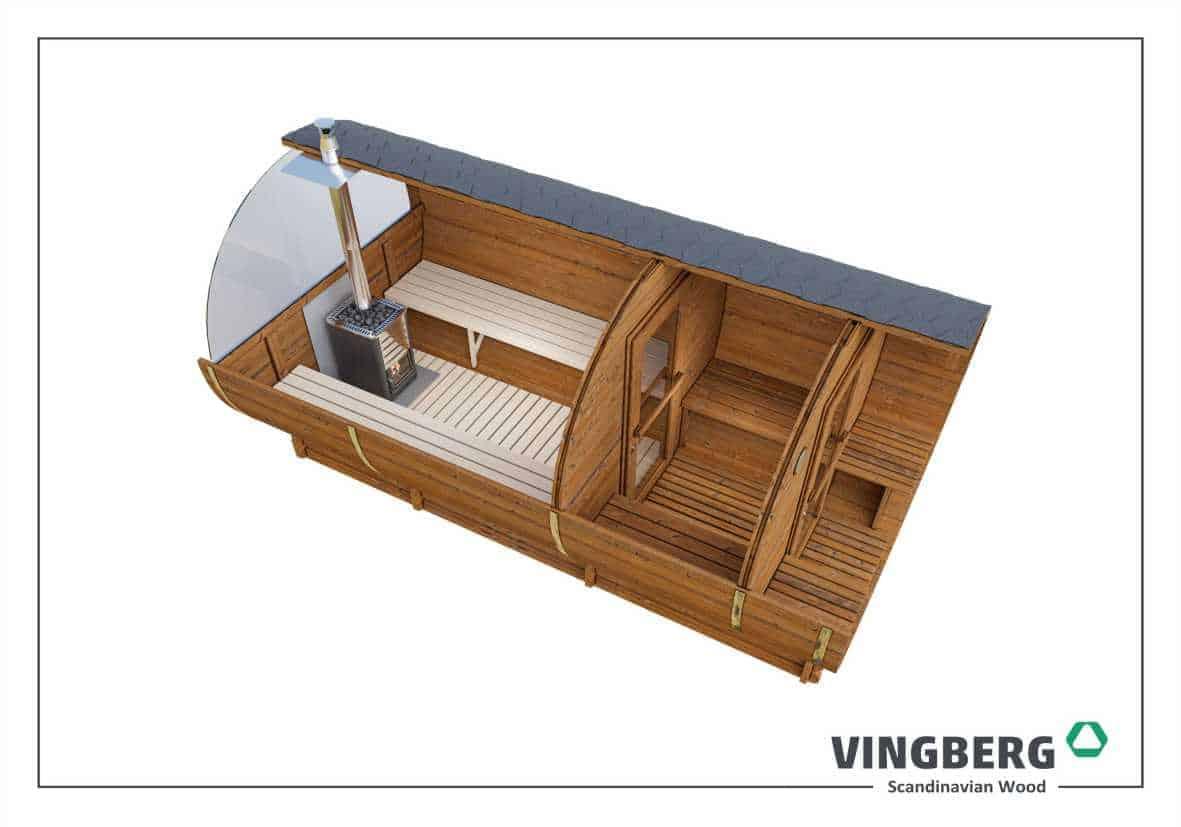 Sauna Akka #420 Vingberg ThermoWood®- kolor dachu czarny, okno panoramiczne, przekrój