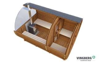 Sauna beczka z ThermoWood®, przekrój, okno panoramiczne