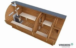Sauna ogrodowa beczka okno panoramiczne