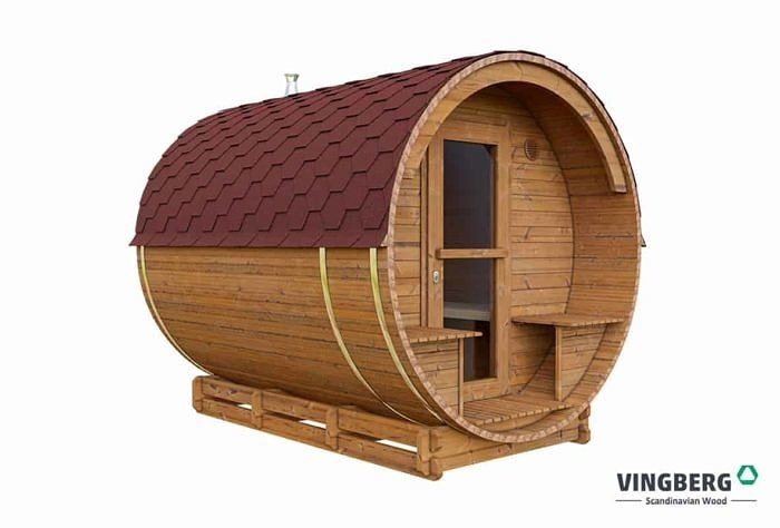 Sauna z drewna termowanego z czerwonym dachem