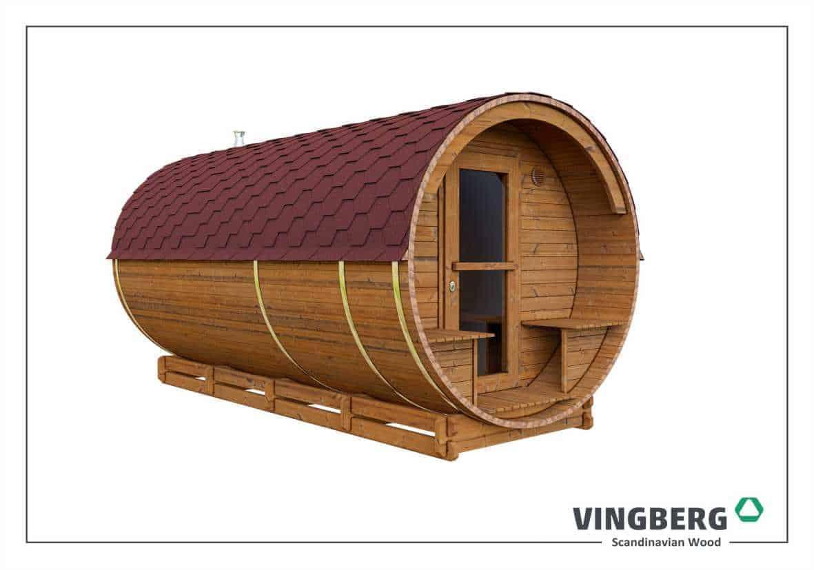 Sauna ogrodowa Akka #420 z ThermoWood®- kolor dachu czerwony