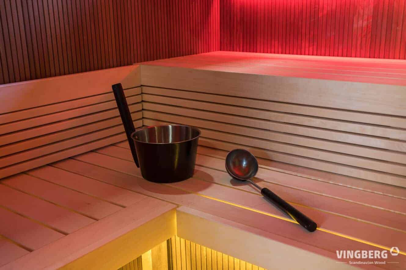 Sauna Scandit interior- wide, comfortable benches and LED lights