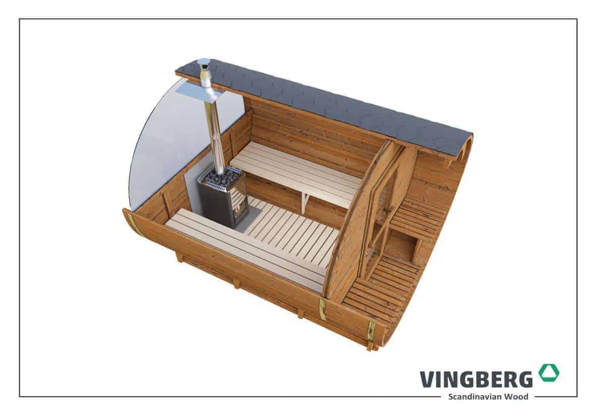 Sauna ogrodowa w kształcie beczki z ThermoWood
