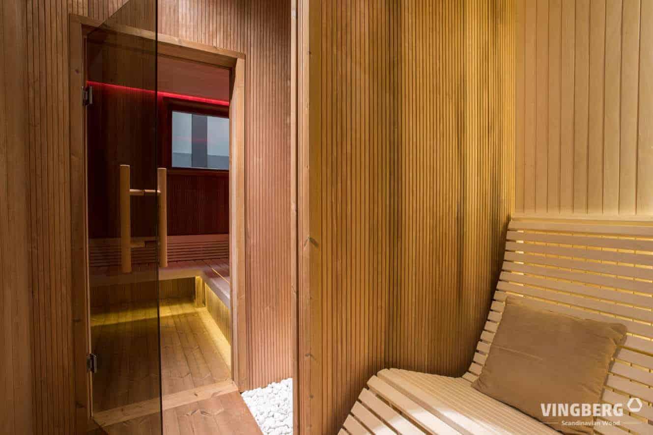 Modern sauna interior- ThermoWood panels and LED lights