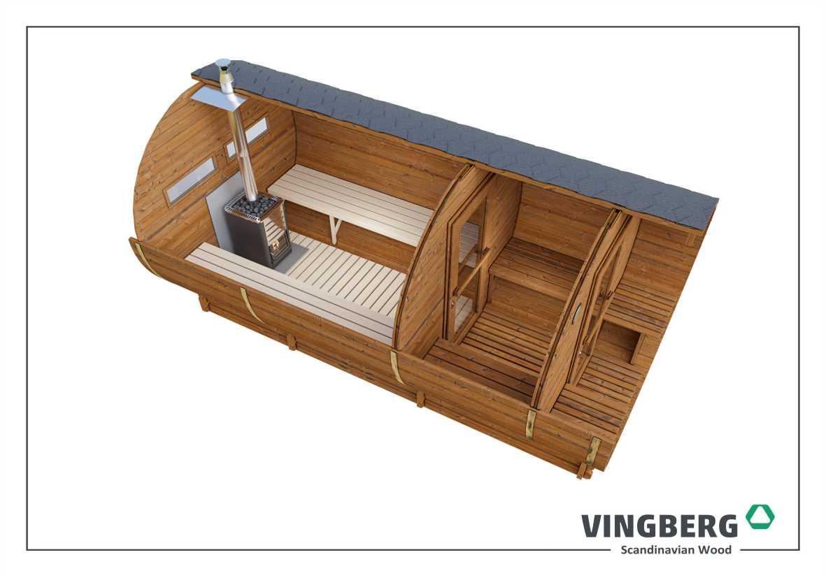 Sauna ogrodowa Akka #420 Vingberg ThermoWood®- kolor dachu czarny, okna prostokątne
