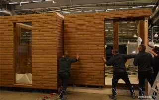 Montaż ścian sauny na targach w Sztokholmie
