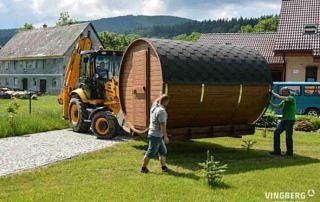 Sauna beczka z ThermoWood- dostawa