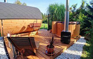 Zestaw sauna i balia ogrodowa Akka Comfort ThermoWood® VINGBERG
