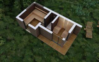 Nowoczesna sauna SCANDIT - rzut z góry