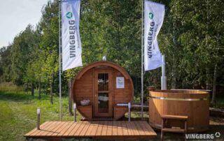 Sauna i balia firmy Vingberg w zestawie z tarasem
