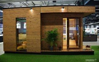 Nowoczesna sauna zewnętrzna, ekspozycja na targach w Sztokholmie