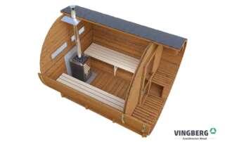 Sauna do ogrodu, przekrój, okno prostokątne