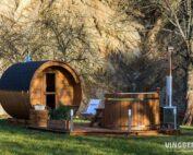 Sauna and hot tub made from ThermoWood- Vingberg