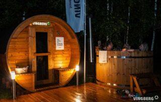 Sauna beczka i balia ogrodowa VINGBERG w zestawie wykonanym z Thermowood